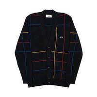 chaqueta forrada de moda para hombre al por mayor-Suéter de línea europeo de lujo Vintage Street Fashion Mens camisa larga Casual hombres y mujeres par chaqueta de punto negro HFSSJK023