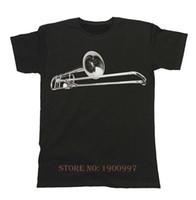 trombón al por mayor-Trombone Brass Unisex Fit Camiseta Para Hombre Instrumento Musical Festival Band Mangas cortas Algodón Moda Envío Gratis