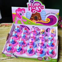 ingrosso accessori per figure d'azione-Action figures Sorpresa uovo unicorno Bambole Bambini cavallo figure Collezione giocattoli Decorazione regali Accessori interni GGA1310