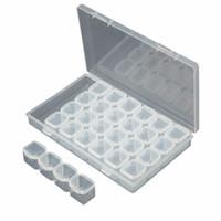 accesorios de almacenamiento de herramientas al por mayor-Caja de bordado de diamantes de 28 ranuras Caja de accesorios de pintura de diamantes Caja de herramientas CrossStitch 11 * 17CM Cajas de almacenamiento útiles