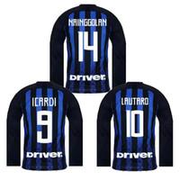 jerseys de fútbol 14 al por mayor-18 19 Inter de Milán Camisetas de fútbol de manga larga CHAMPIONS PERISIC LEAGUE LAUTARO ICARDI 9 NAINGGOLAN 14 HOME AWAY 2018 CAMISA DE FÚTBOL JERSEY
