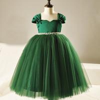 tulle grünes tee länge kleid großhandel-Dark Green Flower Girls Kleider Shining Sash Tee Länge Mädchen Party Kleid Satin mit Tüll Ballkleid Blumenmädchen Kleid