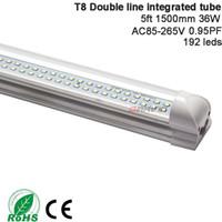 36w floresan lamba toptan satış-T8 Led Tüp Çift Hatları 5ft 1500mm 36W Led Floresan Tüp Lambası