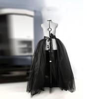 siyah çıkarılabilir etek toptan satış-Siyah Uzun Ayrılabilir Tül Overskirt Etek Gelin Kadınlar Sarar Için Tül Etekler Kabarık Maxi Etek Şerit Kanat Bow Kadın
