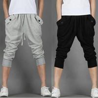 Wholesale Hot Capri Pants - 2018 Hot Sale!! Fashion Casual Loose Mens Capri Cropped Pants Sweatpants Jogger Trousers 2 Colors M-XXL