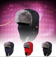 trappeurs achat en gros de-Bluetooth Trapper Hats Chaud Sans Fil Smart Cap Casque Appel Musique Earflap Chapeau Casque Casque Haut-Parleur Bonnets Parti Chapeaux 100pcs OOA5688