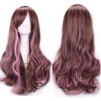 ingrosso le parure delle frange delle parrucche-ZF Pink Mixed Brown Wigs Parrucca a onda naturale con capelli lunghi a 26 pollici con frangia Bang Lady