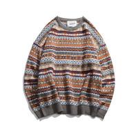 suéteres de navidad de la vendimia de los hombres al por mayor-2018 Folk-custom Sweaters hombres vintage Suéteres navidad suéter hombres otoño ropa casual tejer marca suéter de lana tire homme