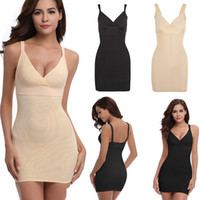 cfa3ea57174ed slip control shapewear Australia - Women Full Body Shaper V Neck Nightwear  Sleeveless Straight Dress Mini