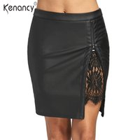Wholesale Lace Leather Skirts - Kenancy Fall 2017 Fashion New 4 Colors Lace Insert PU Faux Leather Skirt Womens Zip Up Sexy Bodycon Mini Skirts All Match Slim