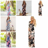 Wholesale brand maternity - Boho Women Maxi Dresses V Neck Long Sleeve Women Elegant Floral Long Party beach Maternity Dresses 3 4 Sleeve Dress 5 color KKA4799