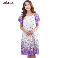 Wholesale Women Cotton Nightdress - Wholesale-Plus Size Nightgowns For Women 2017 Summer Dressing Gowns Girls Nightshirts Nightdress Cotton And Silk Sleepshirt L-XXL E1082