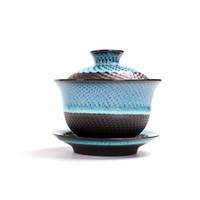 taza de porcelana de regalo al por mayor-China Yixing Zisha Clay Tea Cup Gaiwan Juego de té Taza de té de cerámica china y platillo con tapa Buen regalo de aniversario