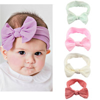 Wholesale infant girl headwraps - Baby Kids Girl Child Infant Flower Floral Bow Turban Knot Headband Headwear Toddler Handmade Stretch Headwraps Solid Hair Accessories