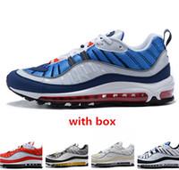 en iyi atletik erkekler spor ayakkabıları toptan satış-98 gundam Tur Sarı Beyaz Koşu Ayakkabı kutusu ile en kaliteli erkek Atletik spor Sneakers ücretsiz kargo