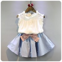 Wholesale korean toddler clothing - 2-8 Years Kids Clothes for Girls The Bow Skirt and Lace Top Summer Suit Korean Style Children's Clothing Sets Baby Toddler Set