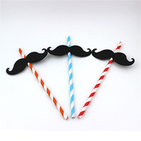 Wholesale disposable papers resale online - Wacky Funny Beard Red Lip Straw Weeding Birthday Party Drinking Straw Decoration Props Disposable Colorful Paper Straws Hot Sale rs YY