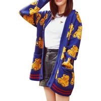ingrosso modelli stella a maglia-Stessi Star Modelli Knit Cardigan Donna Primavera Autunno Jumoer Long Bear Stampa Wild Maglione Cappotto Abbigliamento LXJ297