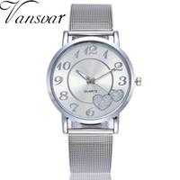любовь часы наручные часы оптовых-Dropshipping Women Silver & Gold Love Heart Dial Wristwatches Fashion  Women's Steel Quartz Watches  Hot