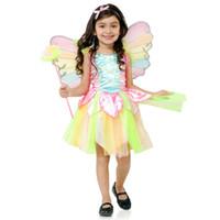 ingrosso spettacolo di compleanno-Neonate Rainbow cosplay Dress con ala Natale Halloween Costume Cosplay Abiti estivi Principessa spettacolo teatrale per Festa di compleanno HC46