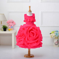 Wholesale wedding gowns size 18 - Baby Girls Dresses for Baby Size 6 9 12 18 Months 2-8 Years Kids Big Floral Beaded Christening Gowns Girls Wedding Dress 607B