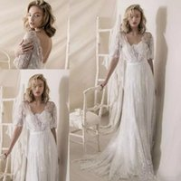 Wholesale floor length wedding dresses wrap resale online - 1950s Lace Wedding Dresses Lihi Hod Lace Wrap Vintage Low Back Bohemian Country Wedding Gowns Sweep Train Cheap