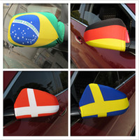 Wholesale Mirror Flags - Russia 2018 World Cup National flag Car Side View Mirror sleeve Cover World Cup Printing football fans gift GGA89 800pcs