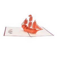 handmade paper greeting cards UK - Sailing Boat Cards Handmade 3D Pop UP Greeting Cards For Birthday Gift Postcards Paper laser cut Thank you cards