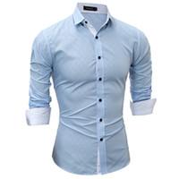 мужская рубашка с воротником оптовых-2017 Dark Stripes Diamond Pattern Plaid Shirts -clothing Mens Dress Shirts Long sleeve Slim Fit Casual Man Chemise homme