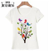 Wholesale Birds Tshirt - Animal bird Print Women T shirt Summer cute Funny T-shirt Short Sleeve Tops harajuku Brand Clothing tshirt