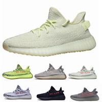 Wholesale frozen low shoes online - 2019 Static V2 Butter Semi Frozen Yellow Blue Tint Beluga Zebra Cream White V2 Mens Women Kanye West Running Designer Shoes