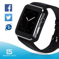 x6 toque venda por atacado-X6 relógios inteligentes com suporte da tela de toque da câmera cartão sim tf bluetooth smartwatch para iphone x samsung s9 telefone goophone com caixa de varejo