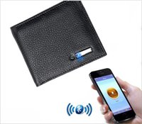Wholesale genuine money purses for men online - Smart Wallet Men Genuine Leather Anti Lost Intelligent Bluetooth Purse Card Holders Money Storage Bag Suit for IOS Android Tracker