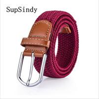 растянутый холст оптовых-SupSindy мода Мужчины Женщины холст равнина лямки металлические пряжки тканые стрейч роскошные ремни для мужчин известный бренд пояса джинсы ремни