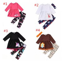 Wholesale Wholesale Clothing Turkey - Kids Baby Girl Outfits Unicorn Reindeer Clothes Girls Outfits T-shirt Tops Dress + Long Pants set Turkey Animals Kid Clothing Cotton Toddler