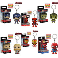 demir adam filmi figürleri toptan satış-Funko Pop Avengers Demir Adam Hulk Thor Deadpool Kaptan Amerika Anahtarlıklar Action Figure Film Aksesuarları Anahtar Chian
