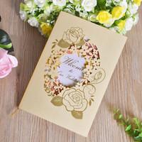 convites amarelos venda por atacado-Amarelo Convites de Casamento Cartão de Estilo Europeu Oco Rose Pintura Para Casar Cartões de Festa de Aniversário de Saudação Venda Quente 0 98cfa Z
