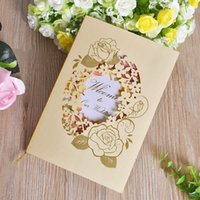 Wholesale european wedding invitations - Yellow Wedding Invitations Card European Hollow Style Rose Painting For Marry Greeting Birthday Party Cards Hot Sale 0 98cfa Z