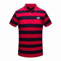 Wholesale stocking groups - 18 Years Summer European Lapel Short Sleeve Male Stripe Bees Pattern Embroidered High Archives Goods In Stock Group