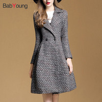 Wholesale double breasted skirt coat - BabYoung Winter Coat Women Warm Wool coat Office Lady Long Sleeve European Fashion Jacket Outwear Rench