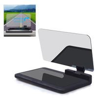 gövdeye monte baş yukarı ekran toptan satış-Araba Evrensel Smartphone Hud Tutucu Oto Araç Head Up Display Dağı Telefon Harita Displayer GPS Navigasyon Görüntü Reflektör Projektör
