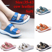 Wholesale yellow moccasins women for sale - Group buy Popular New Summer Women Shoes Casual Sandals Genuine Cow Leather Sandals Beach Slipper Peep Toe Sandals Platform Cute Soft Co