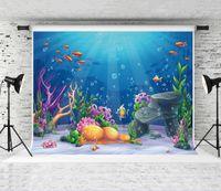 rüya gören deniz toptan satış-Rüya 7x5ft Mavi Sualtı Dünya Arka Plan Çocuk Yaz Tema Parti Potography Backdrop Deniz Bitkileri Stüdyo Arka Bebek Resim Prop