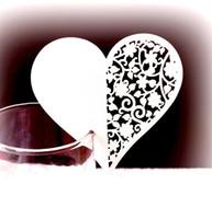 projetos de vidro de papel venda por atacado-Amor em forma de coração cartões ocos out design convites de papel de papel de vinho de vidro floral cartões para festa de casamento 0 25dd bb