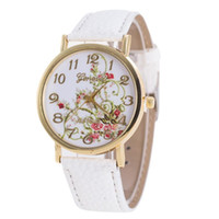 marca impresa relojes al por mayor-Reloj de pulsera de las mujeres famosa marca de impresión de señoras reloj de pulsera de cuarzo analógico de cuero reloj de las mujeres relojes mujer 2018 moda # d