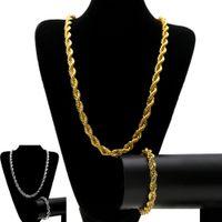 cadeia pesada colar para homens venda por atacado-10 MM Hip Hop Torcida Corda Cadeias conjunto de Jóias de Prata Banhado A Ouro Grosso Pesado Longo Colar pulseira Pulseira Para Homens s Rock Jóias