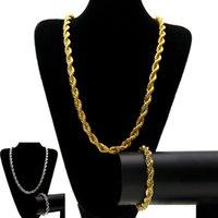 ingrosso braccialetti di spessore 925-Set di gioielli con catena intrecciata hip hop da 10 mm Set di gioielli in oro massiccio placcato in argento spesso pesante braccialetto per gioielli da uomo