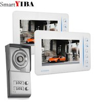 Wholesale entry phone - SmartYIBA 2 Unit Apartment Video Intercom New Wired 7 inch Video Door Phone Intercom Entry System 2 Monitor Apartment