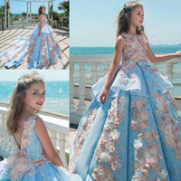 Wholesale Girls Holiday Dresses 12 - Princess Blue Lace Girls Pageant Dresses Jewel Neck Appliques Peplum Long Flower Girls Dresses Birthday Holiday Kids Wedding Party Dresses