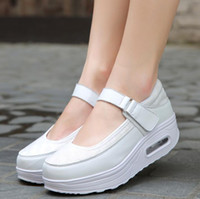 Wholesale white leather nursing shoes women online - 2018 new fashion PU woman breathable mesh shoes women increased heavy bottomed shallow mouth casual shoes nurse shoes